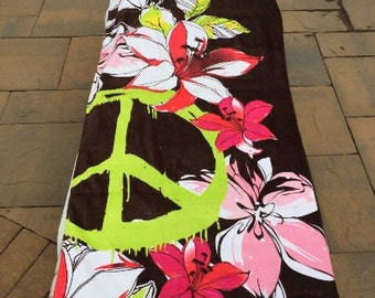 Flowers and PEACE sign design Cotton Beach Towel Wrap - Personalized Beach Towel