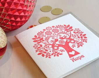 Hope Letterpress Christmas holiday Card Scandinavian Folk Style Red Tree of Life red tree, scandi, retro, love birds, red or green peace