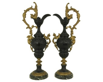 Pair of Antique French Ewers with Dragon and Griffon Figurines. Decorative Mantel Garniture Urns. Napoleon III & Chateau Home Decor.