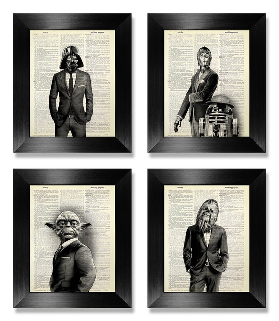 Office wall art set of prints star wars art print set dictionary art print set of 4 prints cool man gift for boyfriend gift movie poster
