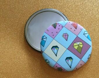 2.25 Inch Hand Mirror - Illustrated Magnet, Faceted Gem Pattern, Round Hand Mirror, Purse Mirror, Pocket Mirror, Compact Mirror, Gem Mirror