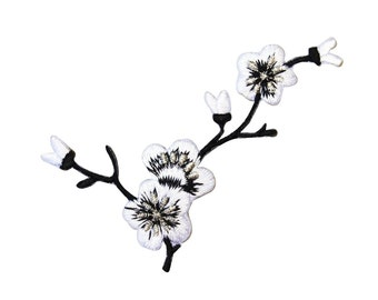 ID 6823 White Cherry Blossom Branch Patch Flowers Embroidered Iron On Applique