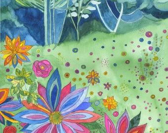 Imaginary Wildflower Meadow original watercolour painting