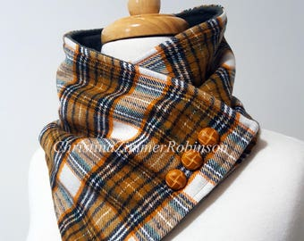 Plaid Neck Warmer Scarf Neck Wrap Goldenrod Black and White Tartan Neckwarmer with Tan Decorative Buttons