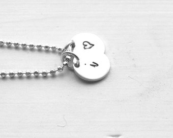Initial Necklace, All letters Available, Heart Necklace, Sterling Silver Jewelry, Letter i Necklace, Hand Stamped, Charm Necklace, i