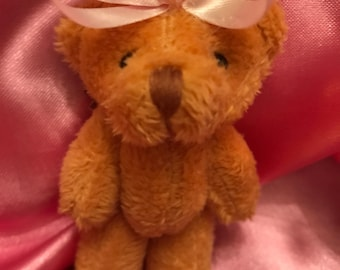 Teddy Bear with Pink Bow Hair Clip