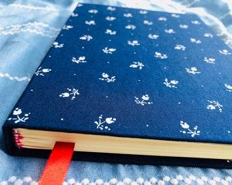 Handmade,Journal,Notebook,Diary,Bullet Journal,Writing,Paper,Blue,Stationery,Flowers,Fabric,Original,Custom,Thick Hardcover,Hand-bound