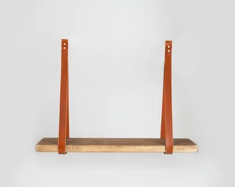 Single Shelf with Leather Straps