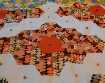Double-Knit 1970s Quilt with Cotton Floral Underside