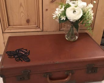 Vintage Suitcase with Bumble Bee Embellishment