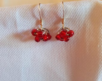 Red Cluster Earrings