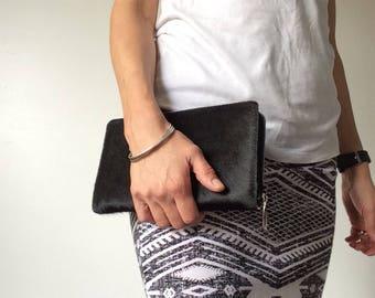 Black cowhide mega wallet