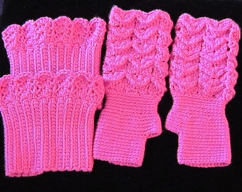 Hot Pink Lacy Fingerless Gloves with matching Boot Cuffs