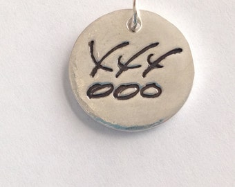 Handwriting jewelry jewelrygram Your Actual Loved Ones Writing Hugs and Kisses Silver Pendant Made to Order for you