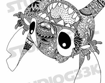 Digital Stitch Zentangle Printable Coloring Sheet