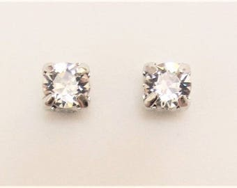 MAGNETIC EARRINGS Crystal Stud Style clip on SWAROVSKI Crystal Clear 6mm stone non-pierced earrings .85 ct white diamond look each earring