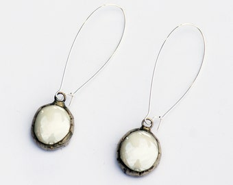 Stained Glass Earring -  Kidney Wire Glass Round Earrings - Iridescent earrings-