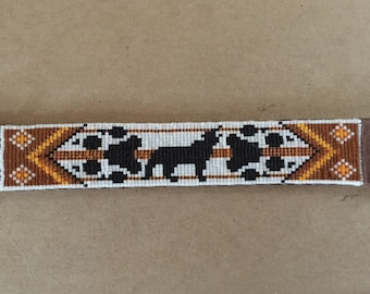Wolf Totem, Brown and Orange Native American, Loom Glass Beaded, Leather Bracelet - Men's or Women's