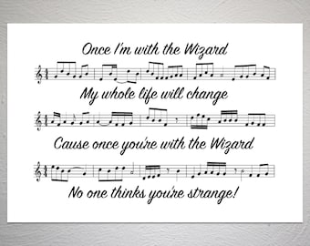 Wicked - The Wizard and I - Song Sheet Poster - Unique Art