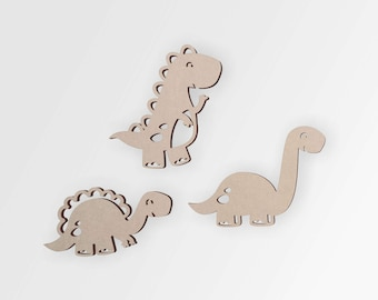Wooden Dinosaurs Cutout (3 Pack) | Dinosaur Crafts | Little Boy Room Idea | Cutout Home Decor, Unfinished and Available 12 to 42 Inches Tall