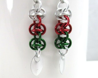 Green, Silver and Red Chainmaille Earrings - RSD Chainmaille Earrings - Ready to Ship!