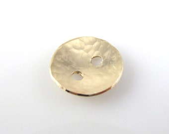 Gold Filled Buttons, 1/2 Inch, 13mm, Textured, Hammered, Polished QTY 2
