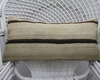 12x24 distressed pillow striped kilim pillow boho pillow handmade pillow throw pillow 12x24 pillow cover organic pillow lumbar pillow  1686