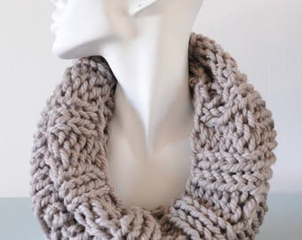 Light Grey Cowl - Reversible Infinity Scarf Chunky Knitted Bulky Merino Wool Winter Accessory Unisex Gift by Emma Dickie Design