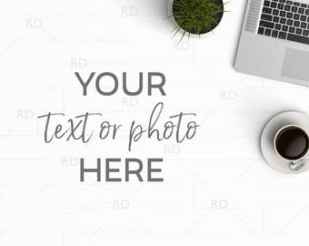 Styled Desk Mockup / Styled Stock Photography / Mockup / Styled Photo for Blog or Website / Feminine Desk Mockup / Wood Desk / White Desk