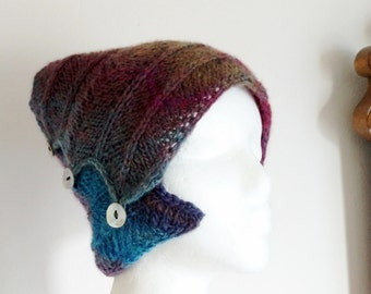 Blueberry Bun Hat/Headwrap/Winter Headband - Hand Knit Multicolor Blue and Purple Headwrap Ponytail Hat in 50/50 Wool/Acrylic Blend