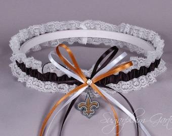 New Orleans Saints Lace Wedding Garter