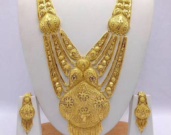 set product heavy antique indian detail necklace plated bridal new gold arrival choker