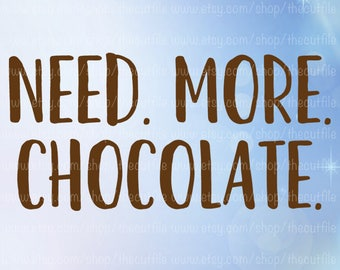 Need More Chocolate svg file, chocolate lover, clip art vector, diy shirt design, mug saying, silhouette studio, cricut explore