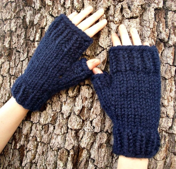 Navy Blue Fingerless Gloves - Navy Blue Gloves Navy Blue Mittens Navy Gloves Navy Mittens Womens Accessories - 34 Color Choices