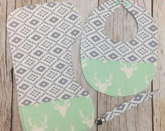 Buck Aztec Patchwork Baby Boy Gift Set - Contoured Burp Cloth, Bib, & Pacifier Clip - Mint Gray White - Baby Shower Gift, Baby Boy Gift Set