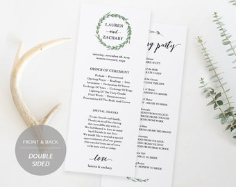 Wedding Program Template, Printable Wedding Program, Ceremony Printable, Instant Download, Editable PDF, Rustic Watercolor Wreath #SPP032pg