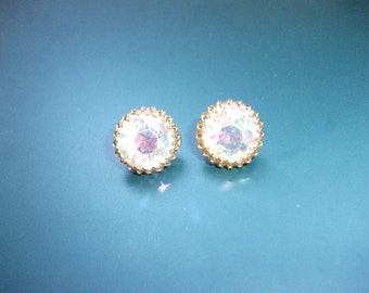 Vintage Lewis Segal Aurora Borealis Glass Rhinestone Lever Back Pierced Earrings