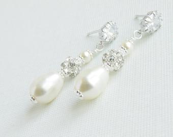 Pearl Rhinestone Drop Earrings, Teardrop Pearl Wedding Earrings, Bridal Jewelry, Drop Pearl Earrings, Bridal Jewelry, Bridal Earrings