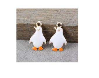 Colorful and silver enamel (S21) Penguin pendant