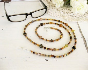 Brown Eyeglass Chain, Beaded Eyeglass Chain, Glasses Chain, Eyeglass Holder, Beaded Eyeglass Chain, Beaded Necklace, Eyeglasses Chain, EH009