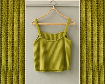 Vintage Strapped Top Womens Small Medium Tank Top Spaghetti Straps Vest Sleeveless Top Strap Vest Ribbed Knitted Moss Green Top Rib Knit Top