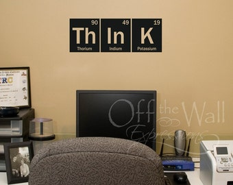 Think Wall Decal - Periodic Table Decal - elements vinyl decal - science decor