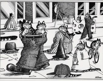 Funny Cat Art, Kliban Cat, Cat Cartoon, 1979, B Kliban Cats, Bernard Kliban, Vintage Cat Print, Kliban Cats Images, Kliban Art, Kliban Art