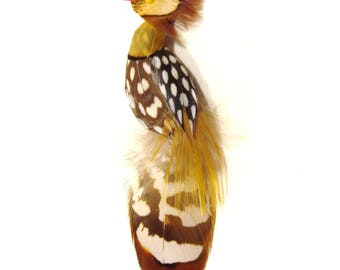 Bird Pin Made from Feathers