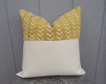 Ivory Leather-mustard yellow mud cloth pillow cover