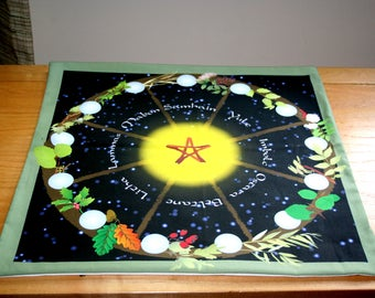 Altar Cloth or Tarot Cloth - Wheel of The Year in Holidays - Tarot or Wicca - Designed by Wendy Wilson of Magic in Your Living Room