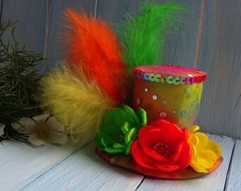 Mini Hat , Mini Top Hat , Mad Hatter Hat , Orange Yellow Green Top Hat Fascinator , Alice in Wonderland , Tea Party Hat , Girl Hat Headband