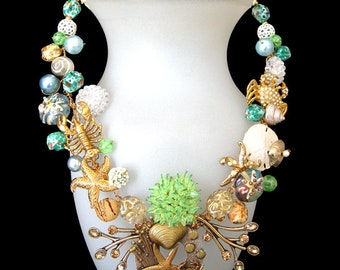 Nauset Beach Shore. A unique Wearable Art Necklace comprised of vintage components with crabs, lobsters, starfish, etc. FREE SHIPPING to US.
