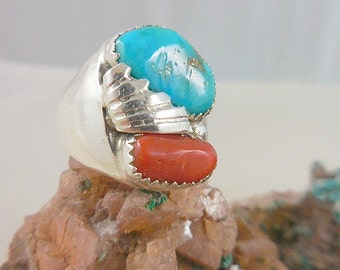 Native American Turquoise Coral Men's Sterling Ring