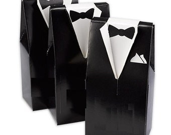 Tuxedo Favor Boxes (Pack of 25) Wedding Party Favors Black or Brown